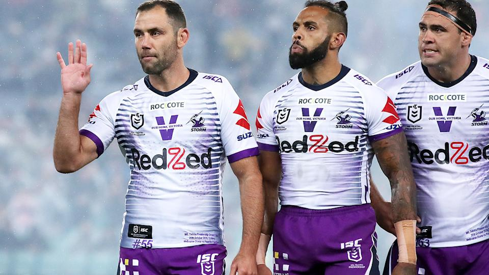Cameron Smith, pictured here before the 2020 grand final between the Penrith Panthers and Melbourne Storm.