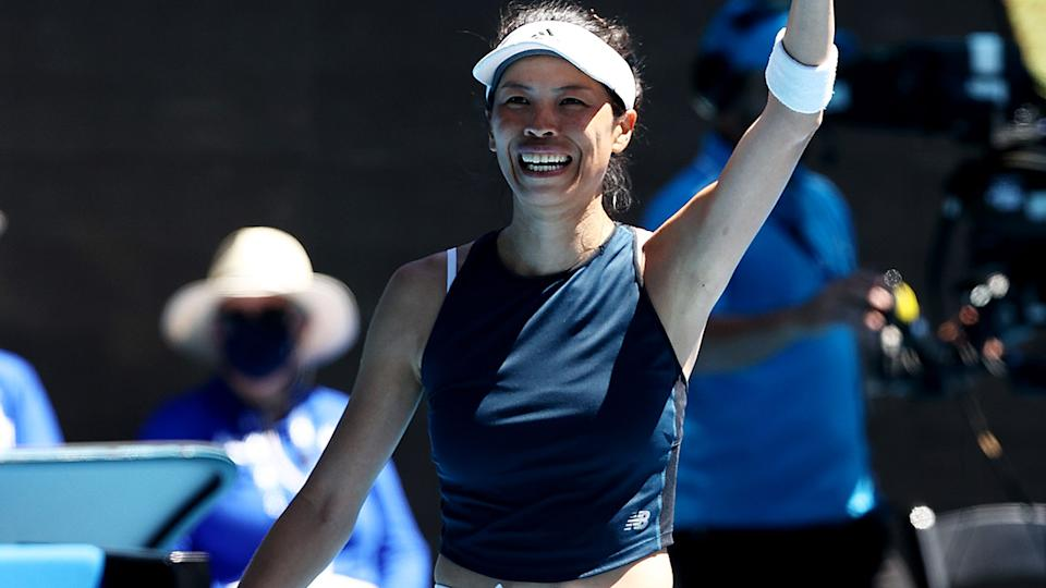 Su-Wei Hsieh, pictured here after beating Bianca Andreescu at the Australian Open.