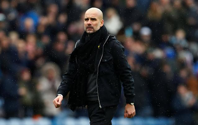 "Soccer Football - Premier League - Burnley vs Manchester City - Turf Moor, Burnley, Britain - February 3, 2018 Manchester City manager Pep Guardiola at the end of the match Action Images via Reuters/Jason Cairnduff EDITORIAL USE ONLY. No use with unauthorized audio, video, data, fixture lists, club/league logos or ""live"" services. Online in-match use limited to 75 images, no video emulation. No use in betting, games or single club/league/player publications. Please contact your account representative for further details."