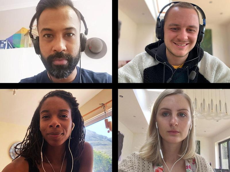 Screen of four friends connecting on video call (Photo: Alistair Berg via Getty Images)