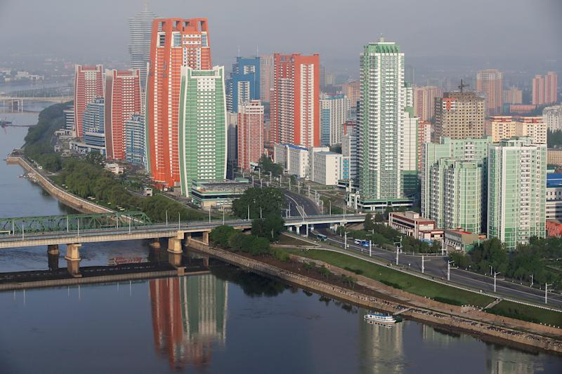 Newly built buildings of Mirae Scientists Street are seen on the banks of Taedong River in central Pyongyang, North Korea May 7, 2016. (REUTERS/Damir Sagolj)