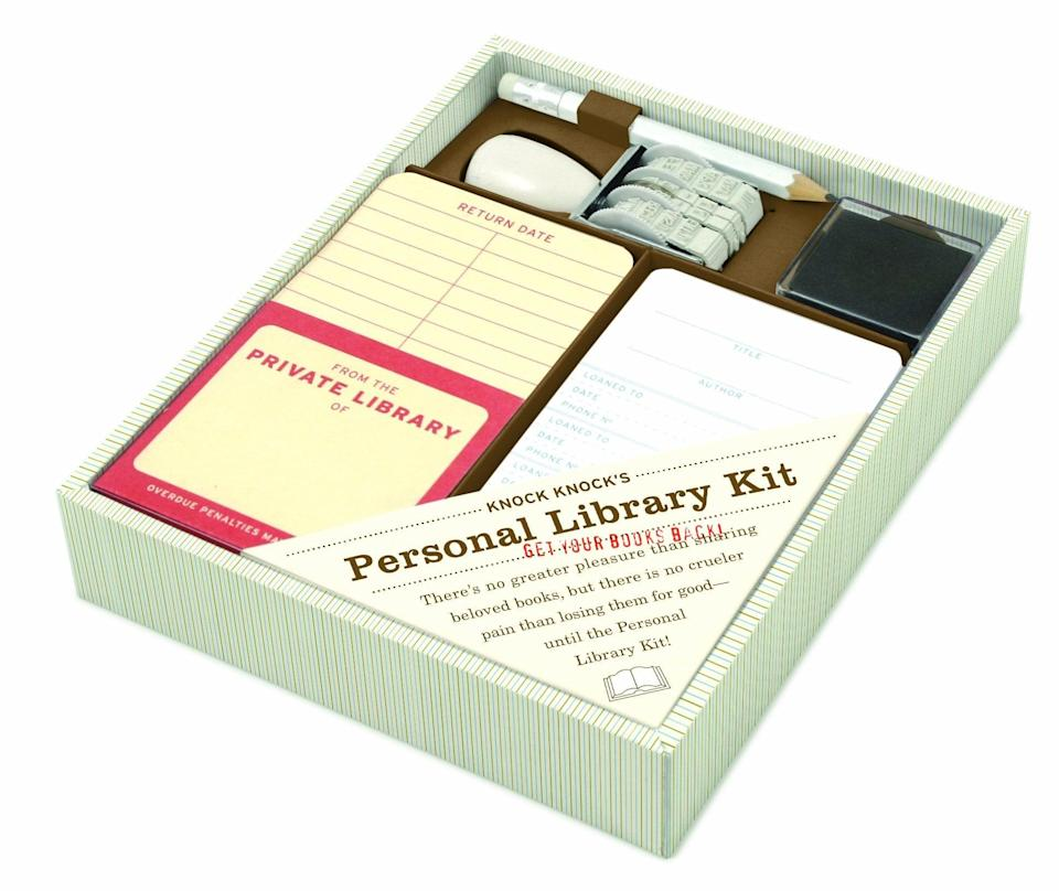 <p>For the friend that's always lending books, they'll smile upon receiving this <span>Personal Library Kit</span> ($22).</p>