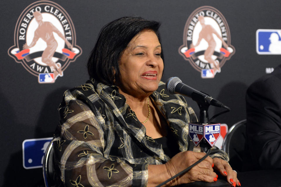 CHICAGO, IL - OCTOBER 28:  Vera Clemente speaks during the 2016 Roberto Clemente Award Press Conference prior to Game 3 of the 2016 World Series between the Cleveland Indians and the Chicago Cubs at Wrigley Field on Friday, October 28, 2016 in Chicago, Illinois. (Photo by Ron Vesely/MLB via Getty Images)