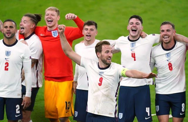 England players celebrate at full-time