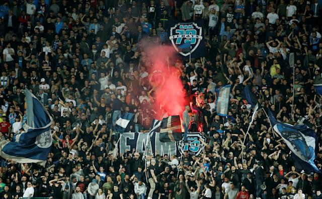 Soccer Football - Serie A - Napoli vs Udinese Calcio - Stadio San Paolo, Naples, Italy - April 18, 2018 Napoli fans set off flares in the stand REUTERS/Ciro De Luca