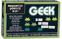 <p>Welcome to magnetic poetry, <span>geek edition</span> ($13), with over 200 nerdy words for some serious kitchen entertainment. </p>