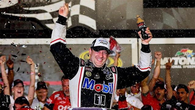 Tony Stewart celebrating at Daytona