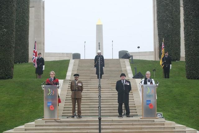 Chaplains, veterans and soldiers at the National Memorial Arboretum in Alrewas