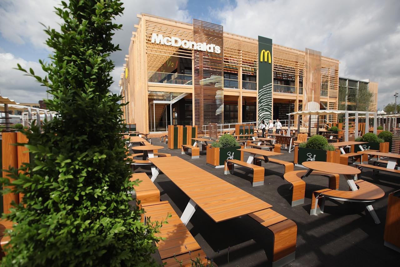 LONDON, ENGLAND - JUNE 25:  An exterior view of the world's largest McDonald's restaurant and their flagship outlet in the Olympic Park on June 25, 2012 in London, England. The restaurant, which is one of four McDonald's to be situated within the Olympic Park, will have a staff of 500. After the Olympic and Paralympic Games conclude the restaurant will be dismantled and all fixtures and fittings will be either reused or recycled.  (Photo by Oli Scarff/Getty Images)