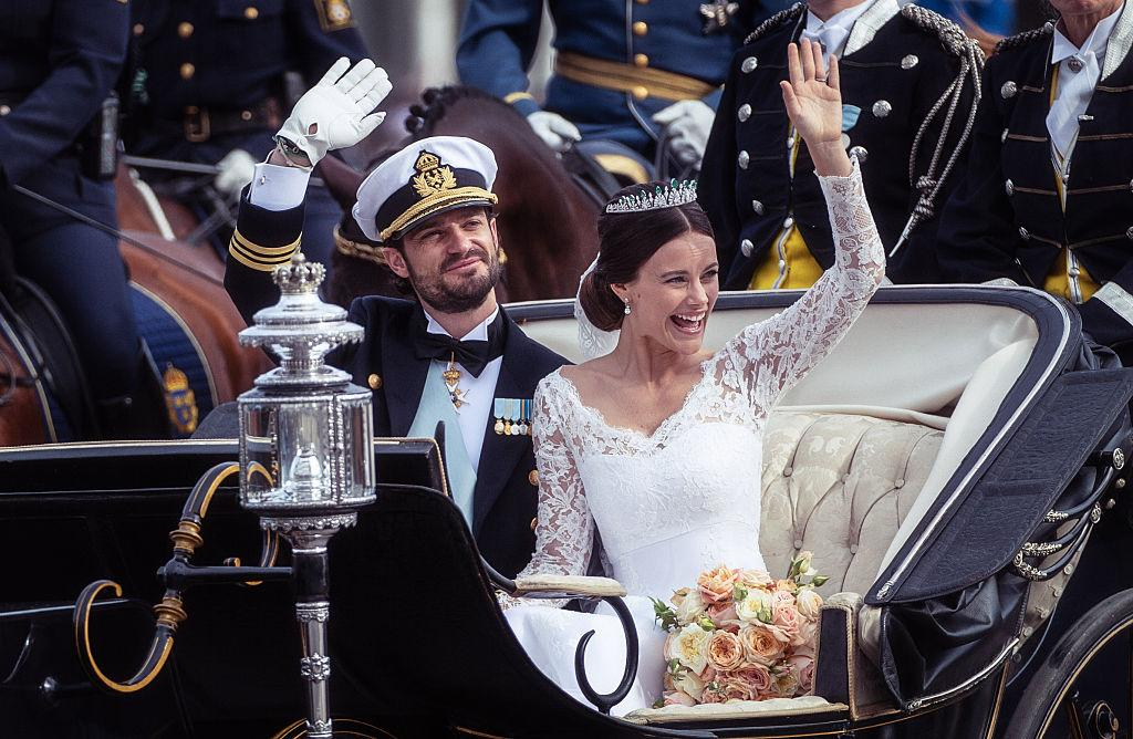 <p>On June 13 2015, Prince Carl Philip and Princess Sofia of Sweden married in Stockholm Palace. On her big day, Sofia sought inspiration from sister-in-law Crown Princess Victoria and donned a dress by Swedish designer, Ida Sjöstedt. <em>[Photo: Getty]</em> </p>