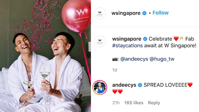 W Hotel Singapore - Sentosa Cove posted a photo of gay influencers, couple Andee Chua and Hugo Liu at a hosted stay on 14 September 2020.