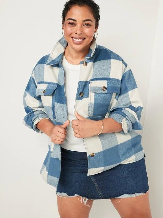 <p>This blue <span>Old Navy Soft-Brushed Utility Shirt Jacket</span> ($65) is a statement maker if you love a plaid button-down but you want it in coat form.</p>