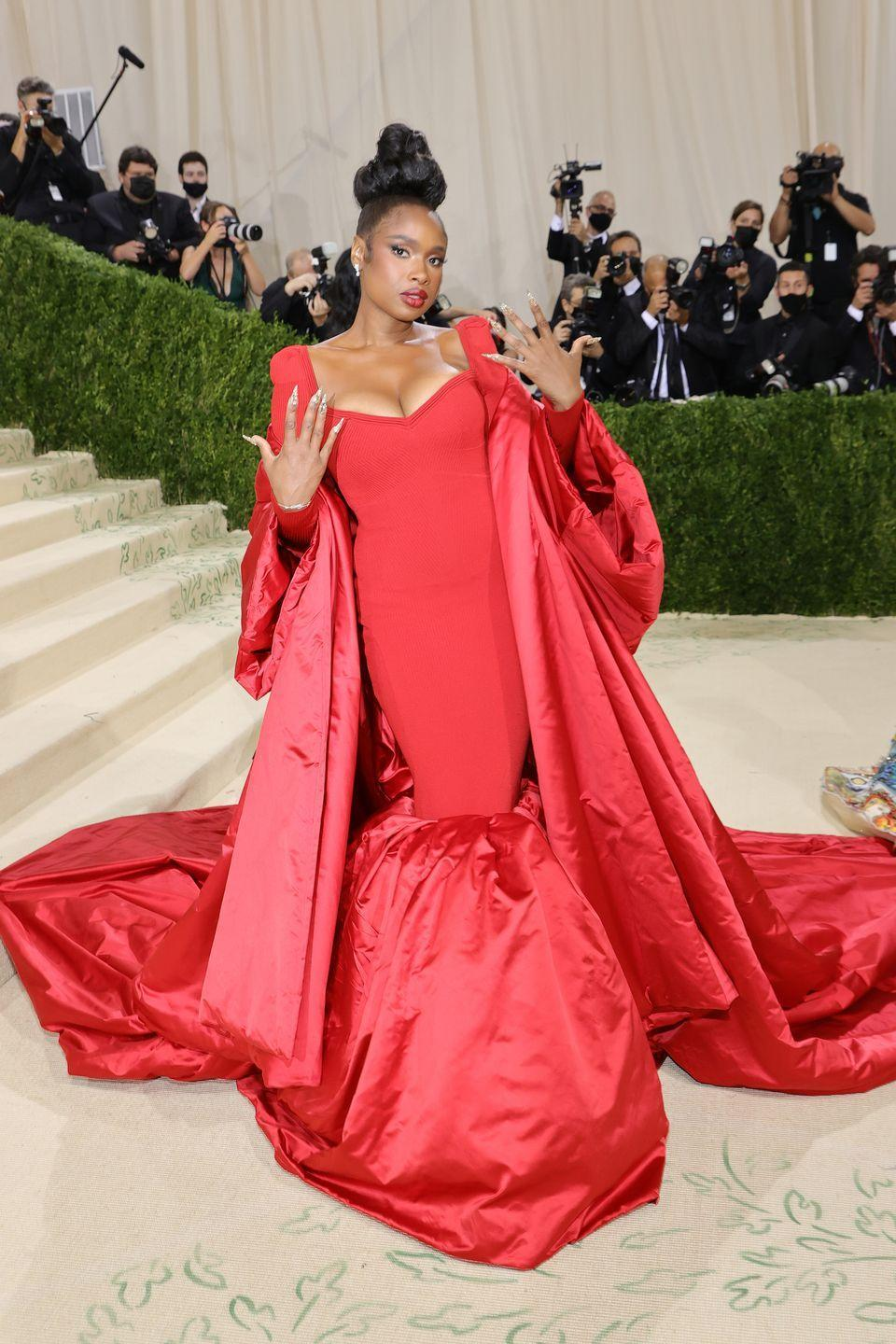 <p>The actor wore a red gown by AZ Factory for the Met Gala.</p>