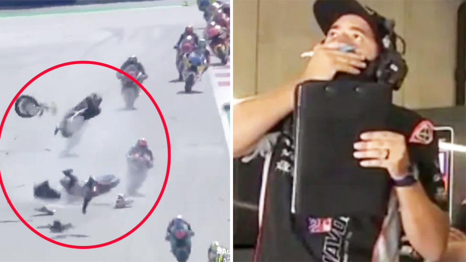 Hafizh Syahrin, pictured here after he was sent flying through the air in the crash.