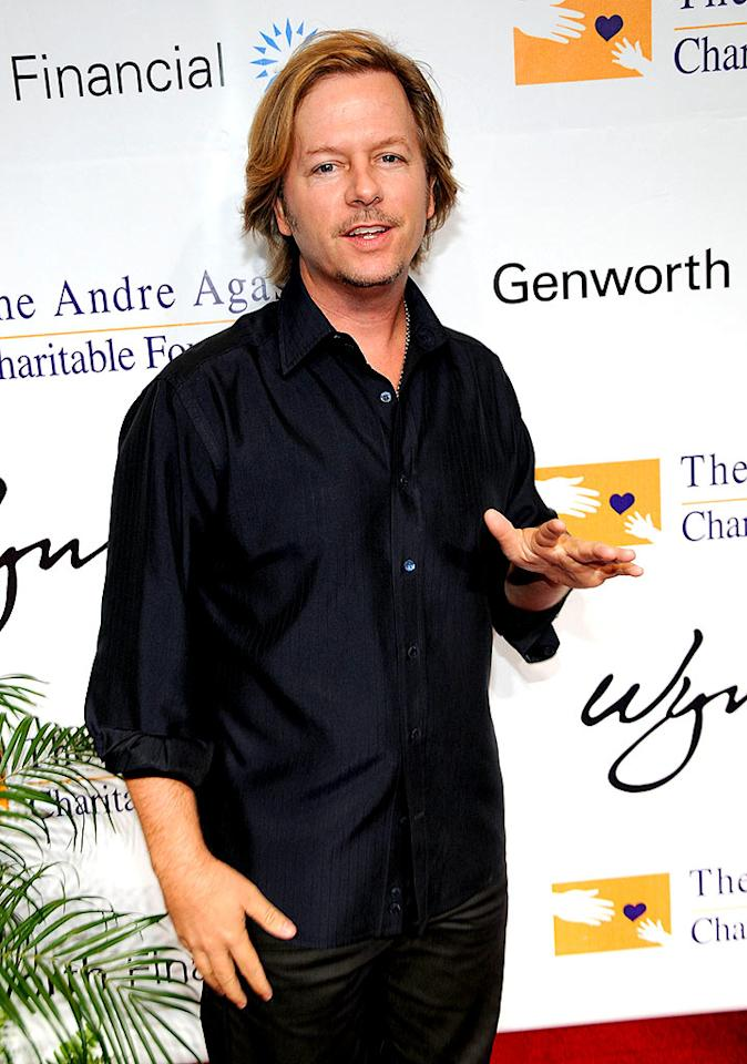 "Funnyman David Spade hits the red carpet in basic black ensemble. Kevin Mazur/<a href=""http://www.wireimage.com"" target=""new"">WireImage.com</a> - October 11, 2008"