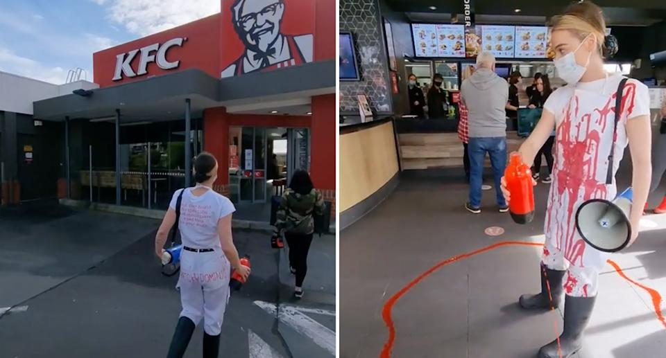 A group pouring fake blood on the floor at a KFC store on Saturday. Source: Instagram/vganbooty