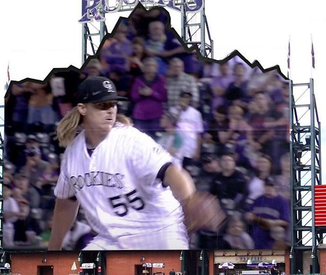 A rendering of the Rockies new mountain-shaped scoreboard that's coming to Coors Field. (Rockies)