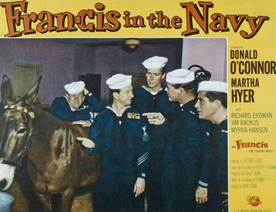 <p>In 1955, Eastwood secured his first role in a feature film. Although not a starring role, the young actor played a sailor named Jonesy in <em>Francis in the Navy</em>. </p>