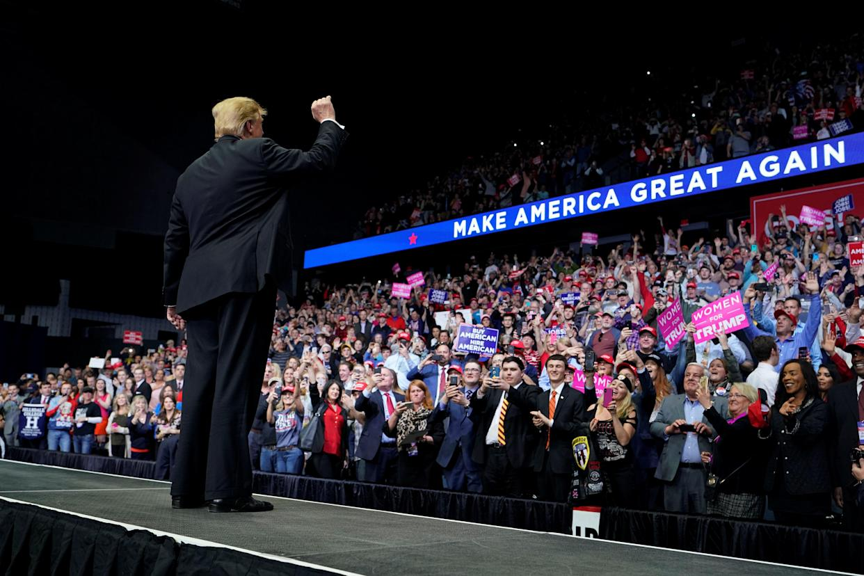 President Trump at a campaign rally in Grand Rapids, Mich., on March 28. (Photo: Joshua Roberts/Reuters)