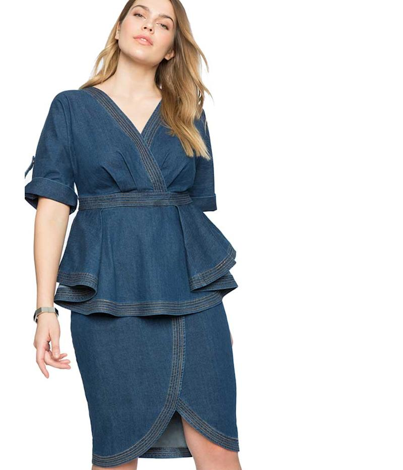 Denim wrap peplum dress.