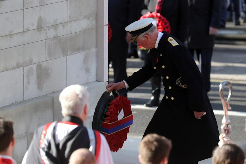 The Prince of Wales lays the first wreath at the Cenotaph (Chris Jackson/Getty)