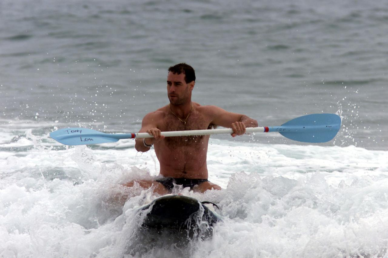 17 Jan 2000:  Michael Bevan of Australia rides a surf ski at Australian Cricket training at Coogee Beach, Sydney, Australia.  Mandatory Credit: Nick Wilson/ALLSPORT