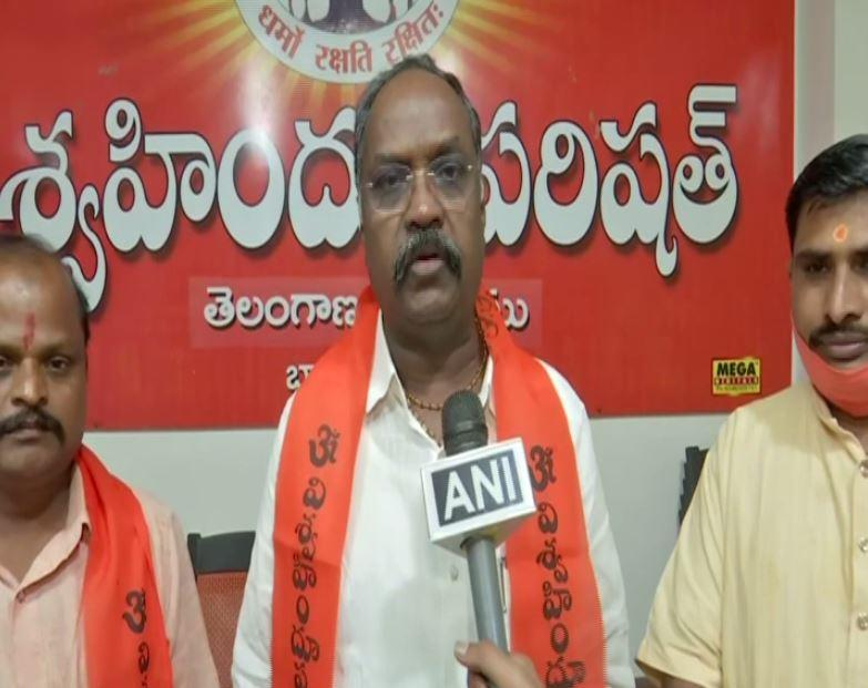 VHP Telangana Secretary Bandari Ramesh speaks to ANI in Hyderabad on Wednesday. (Photo/ANI)
