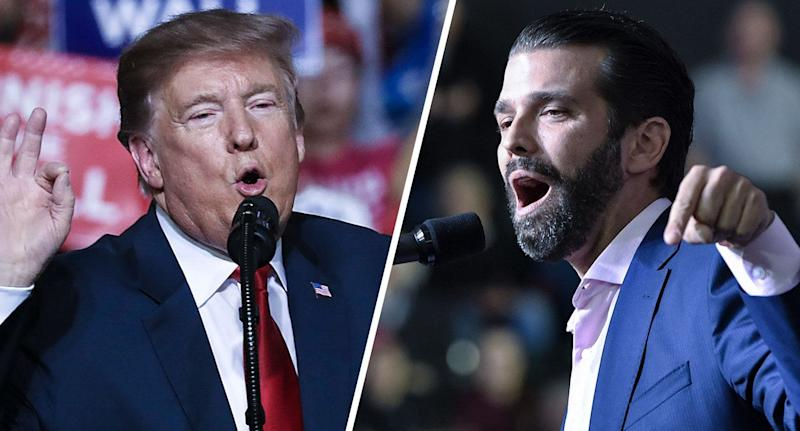 U.S. President Donald Trump and Donald Trump Jr. speak during a rally in El Paso, Texas on February 11, 2019. (Photos: Joe Raedle/Getty Images - Nicholas Kamm/AFP/Getty Images)