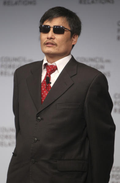 Chen Guangcheng speaks at the Council on Foreign Relations in New York, Thursday, May 31, 2012. Guangcheng is a blind Chinese activist whose dramatic escape from a house arrest culminated in a flight to the U.S. this month. (AP Photo/Seth Wenig)