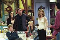 """<p>Pitt appeared on the Thanksgiving episode of his wife's hit television show in 2001. Pitt <a href=""""https://www.usatoday.com/story/entertainment/tv/2019/09/16/friends-brad-pitt-flubbed-his-first-line-jennifer-aniston/2348317001/"""" rel=""""nofollow noopener"""" target=""""_blank"""" data-ylk=""""slk:revealed in an interview"""" class=""""link rapid-noclick-resp"""">revealed in an interview</a> that he made a mistake on his first line and the cast had to restart. </p>"""