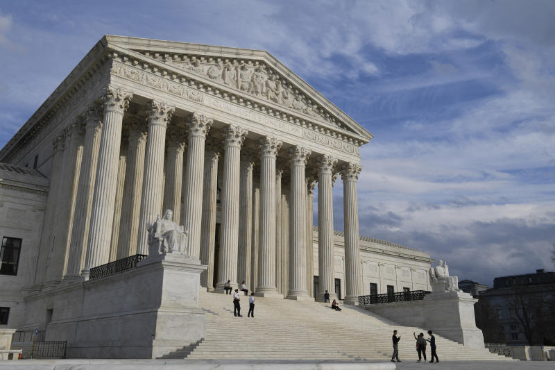 A March 15, 2019 view of the Supreme Court in Washington. The Supreme Court says Missouri can execute an inmate who argued his rare medical condition will result in severe pain if he is given death-causing drugs. The justices are ruling 5-4 Monday against inmate Russell Bucklew, who is on death row for a 1996 murder. (AP Photo/Susan Walsh)