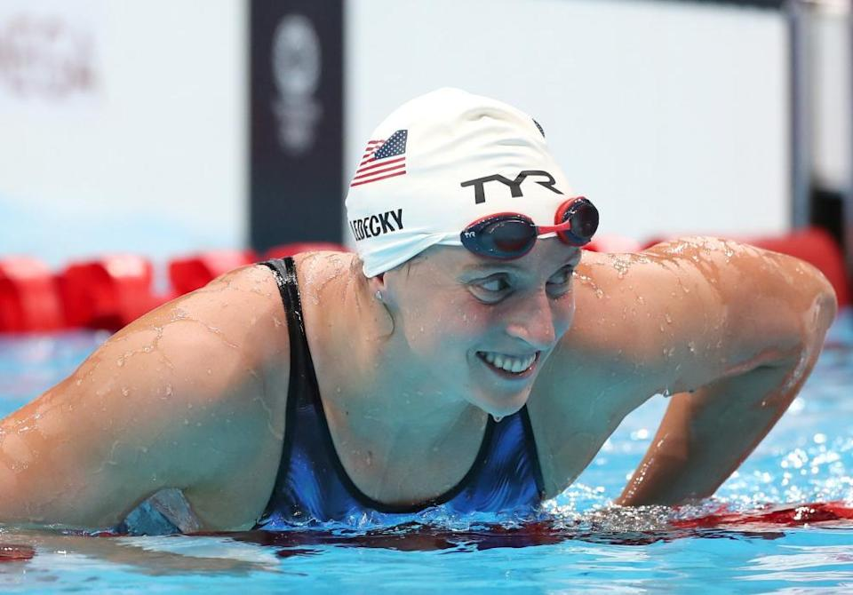 Katie Ledecky of Team USA after recording the fastest time in the women's 400m freestyle heats at the Tokyo Olympics.