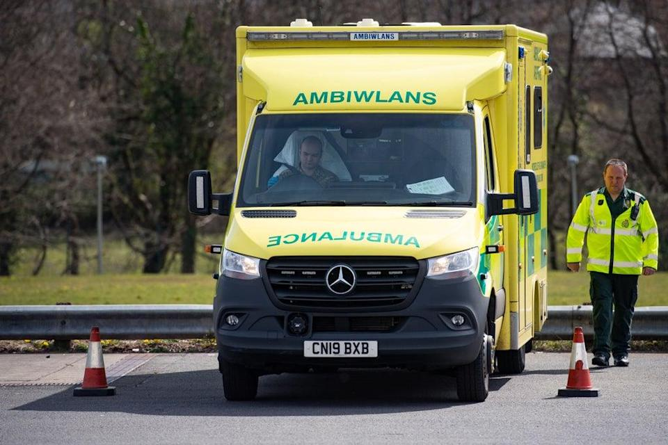 Ambulances face long waits outside Welsh hospitals while patients are transferred over (Jacob King/PA) (PA Archive)