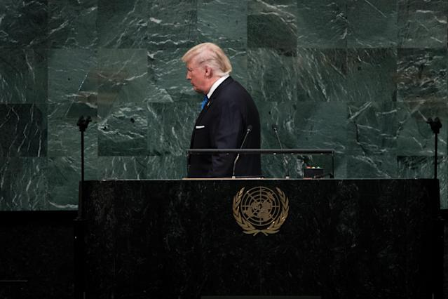 <p>President Trump leaves the lecture after addressing the United Nations General Assembly at U.N. headquarters, Sept. 19, 2017 in New York City. (Photo: Drew Angerer/Getty Images) </p>