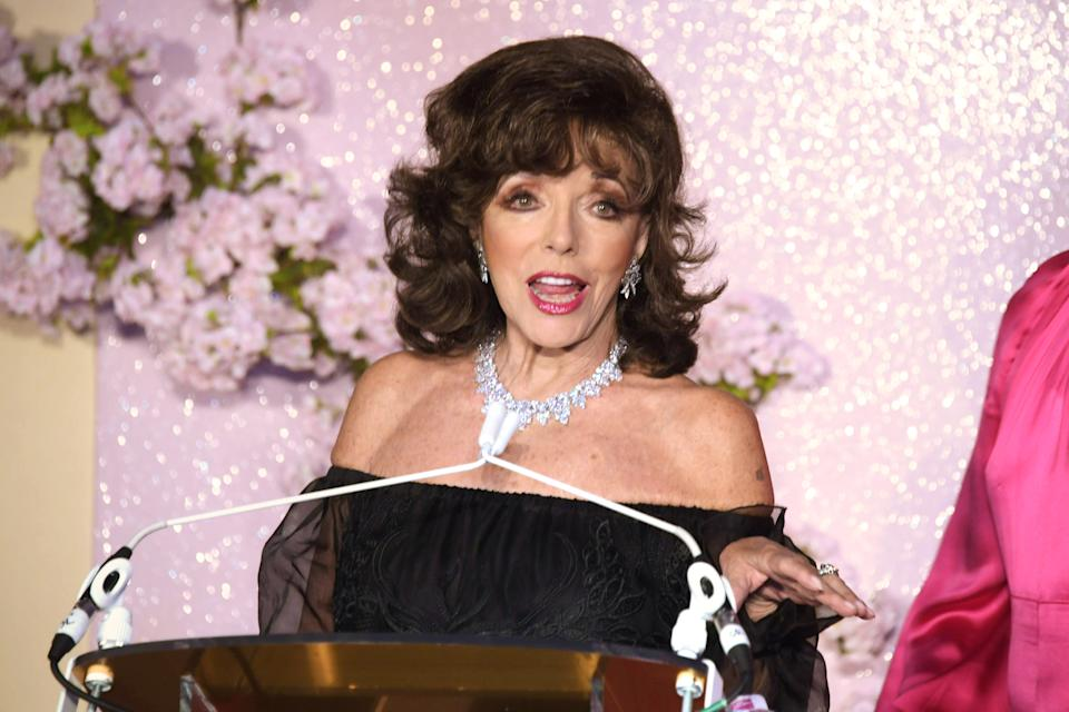 LONDON, ENGLAND - OCTOBER 16:   Dame Joan Collins attends the Lady Garden Foundation Gala 2019 at Claridge's Hotel on October 16, 2019 in London, England.  (Photo by David M. Benett/Dave Benett/Getty Images)