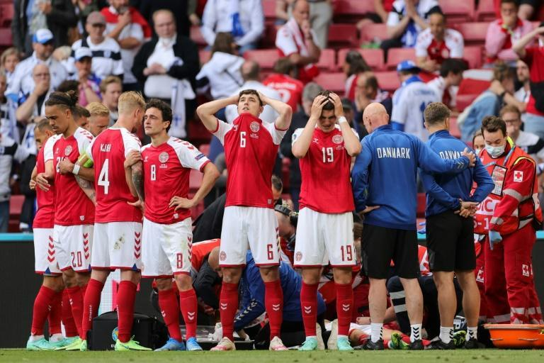Denmark players were left visibly distraught by Christian Eriksen's on-pitch collapse
