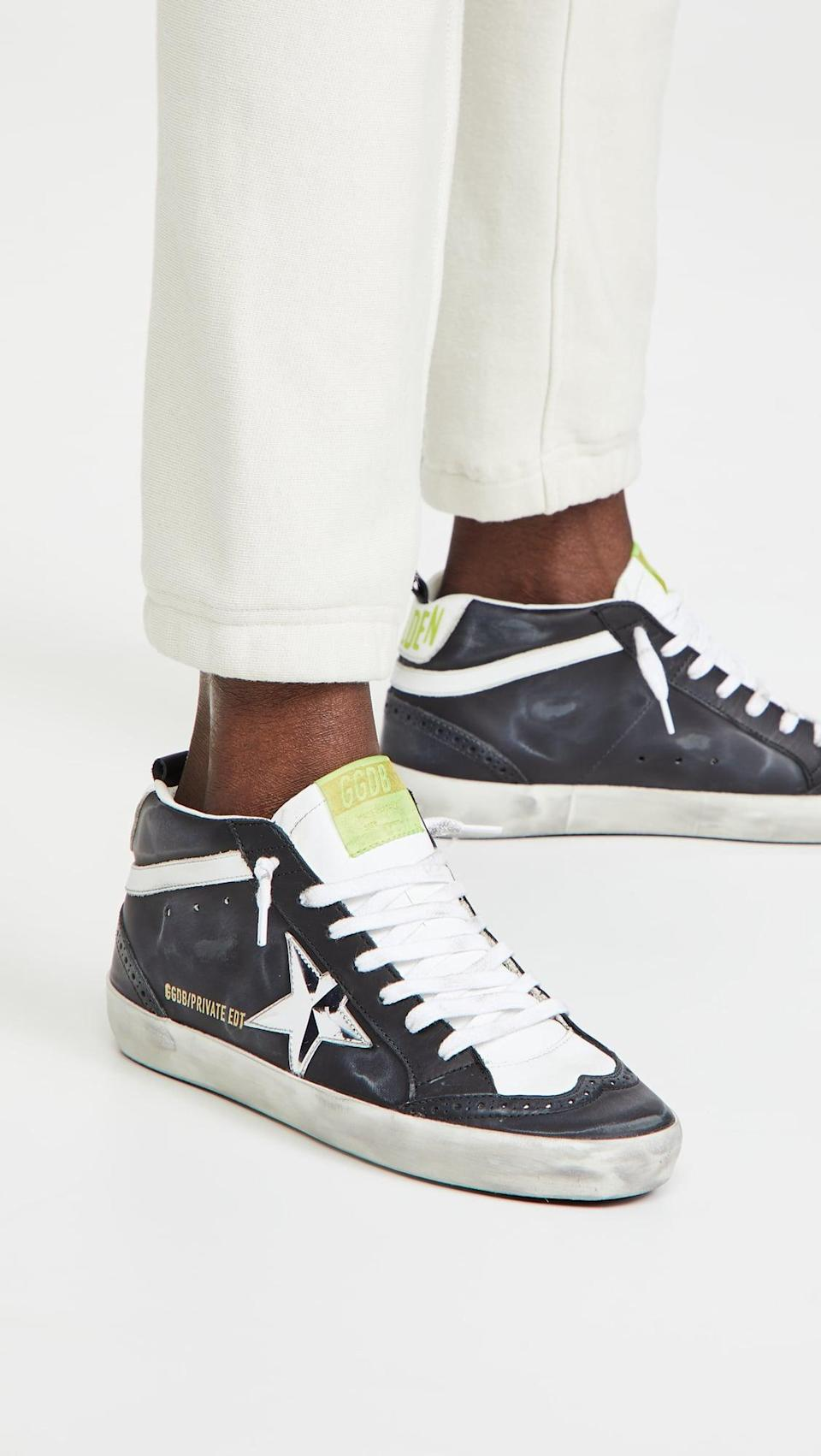 <p>If you feel like splurging on a sneaker, go for these cool <span>Golden Goose Midstar Sneakers</span> ($560). They're so flattering on the foot, and we've walked miles in ours.</p>