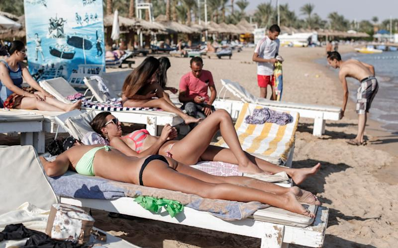 British tourists still travel to Sharm el-Sheikh even though the UK has suspended direct flights to the resort - Credit: Sam Tarling for The Telegraph