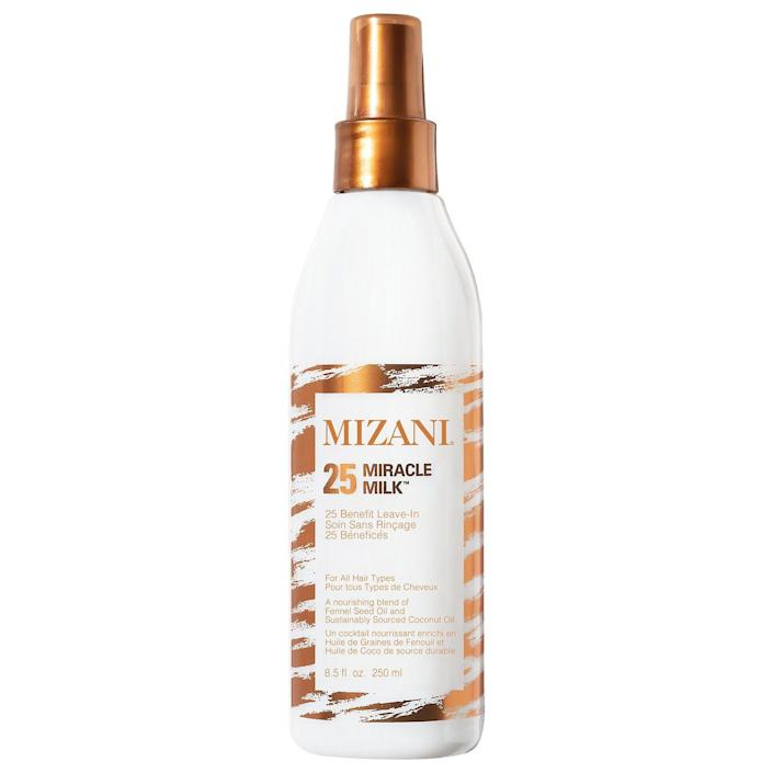 """<p><strong>Mizani</strong></p><p>sephora.com</p><p><strong>$23.00</strong></p><p><a href=""""https://go.redirectingat.com?id=74968X1596630&url=https%3A%2F%2Fwww.sephora.com%2Fproduct%2Fmizani-25-miracle-milk-leave-in-conditioner-P455850&sref=https%3A%2F%2Fwww.harpersbazaar.com%2Fbeauty%2Fhair%2Fg35565643%2Fbest-leave-in-conditioners-for-natural-hair%2F"""" rel=""""nofollow noopener"""" target=""""_blank"""" data-ylk=""""slk:Shop Now"""" class=""""link rapid-noclick-resp"""">Shop Now</a></p><p>Coconut oil might be the key ingredient adding noticeable shine and moisture to hair, but the real star here is fennel seed oil—it's the ingredient that will keep your hair strong and breakage-free. <br></p>"""