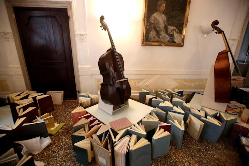 Music books are placed to dry at the first floor of Venice Conservatory after being recovered from the ground floor, on Nov. 16, 2019.  (Photo: ASSOCIATED PRESS)