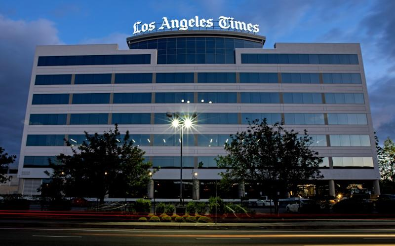 The Los Angeles Times building and newsroom along Imperial Highway on Friday, April 17, 2020 in El Segundo, CA
