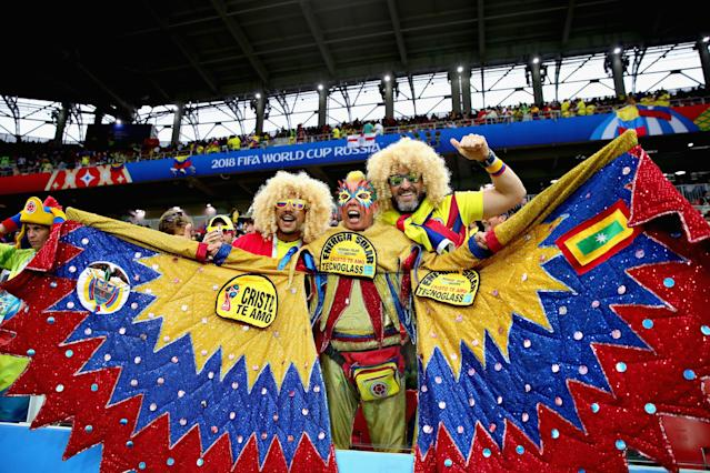 <p>Colombia fans enjoy the atmosphere in the ground before the 2018 FIFA World Cup Russia Round of 16 match between Colombia and England at Spartak Stadium on July 3, 2018 in Moscow, Russia. (Photo by Chris Brunskill/Fantasista/Getty Images) </p>