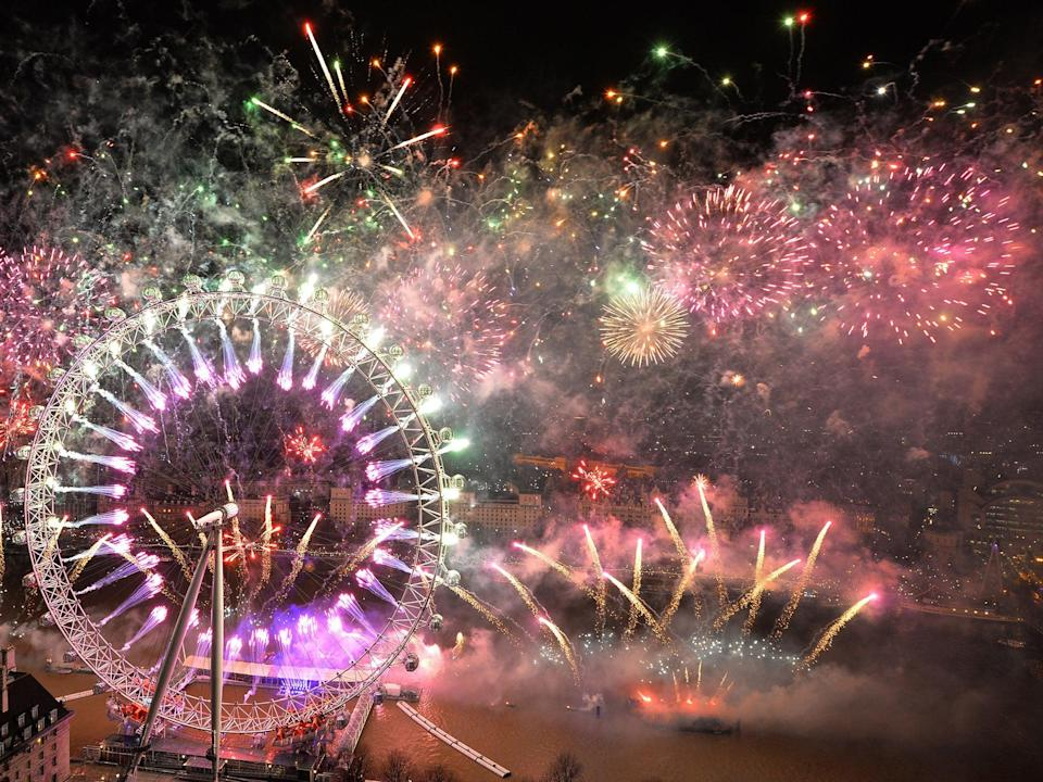 Fireworks explode over the London Eye (Getty)