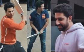 Watch Sachin Tendulkar enjoy 'Gully Cricket' with Abhishek Bachchan, Varun Dhawan