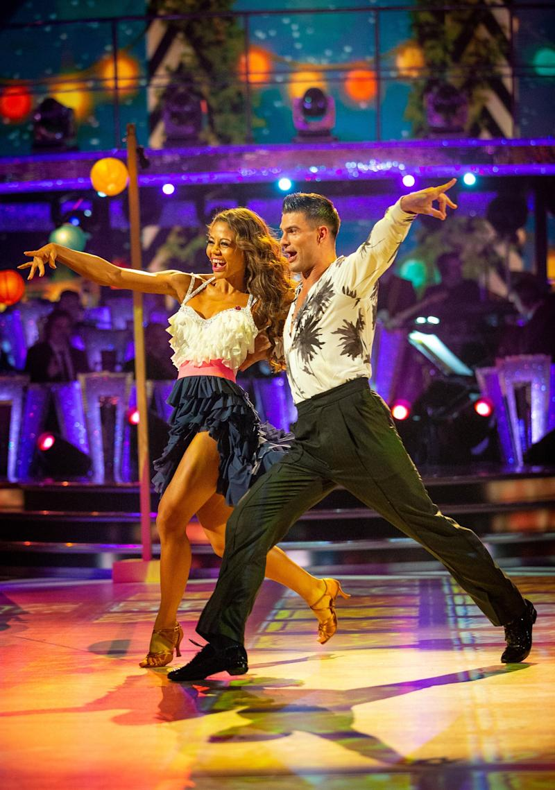 Voted out: Emma Weymouth and Aljaž Škorjanec left the competition on Sunday (BBC/Guy Levy)