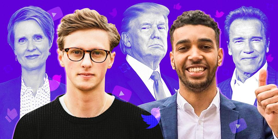 Max Fosh, left, and Niko Omilana, right, are both running in the London mayoral election. Cynthia Nixon, Donald Trump, and Arnold Schwarzenegger are in the background.