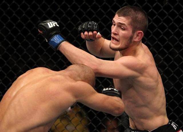 """<p>Nurmagomedov had quite a bit of buzz with hardcore fans when he made his UFC debut on the undercard of the first UFC on FX card on Jan. 20, 2012, in Nashville. And """"The Eagle"""" lived up to his hype against former WEC headliner Kamal Shalorus. Nurmagomedov dropped Shalorus early with an uppercut and instantly started his trademark aggressive ground assault. Shalorus escaped that time, but the scenario kept repeating itself until Nurmagomedov sunk in a rear-naked choke and got the tap at 2:08 of the third round. </p>"""