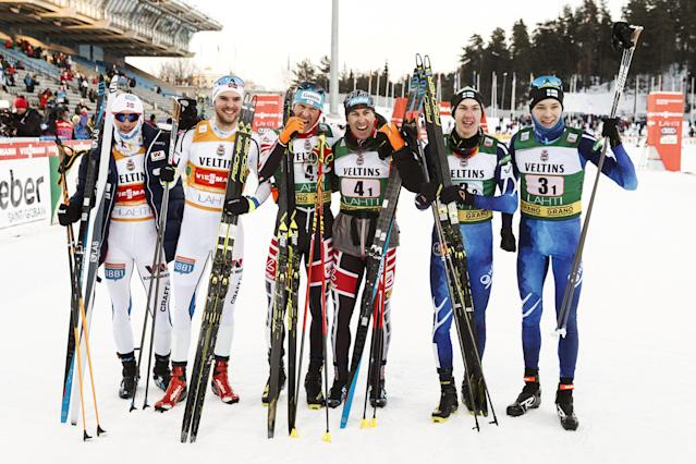 Jan Schmid and Joergen Graabak of Norway placed second, winners Bernhard Gruber and Wilhelm Denifl of Austria and third placed Ilkka Herola and Eero Hirvonen of Finland are seen after cross-country skiing of the men's Nordic Combined Team Sprint of the FIS World Cup in Lahti, Finland March 3, 2018. LEHTIKUVA/Roni Rekomaa via REUTERS ATTENTION EDITORS - THIS IMAGE WAS PROVIDED BY A THIRD PARTY. NO THIRD PARTY SALES. NOT FOR USE BY REUTERS THIRD PARTY DISTRIBUTORS. FINLAND OUT. NO COMMERCIAL OR EDITORIAL SALES IN FINLAND.