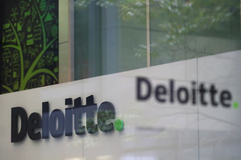 Offices of Deloitte are seen in London