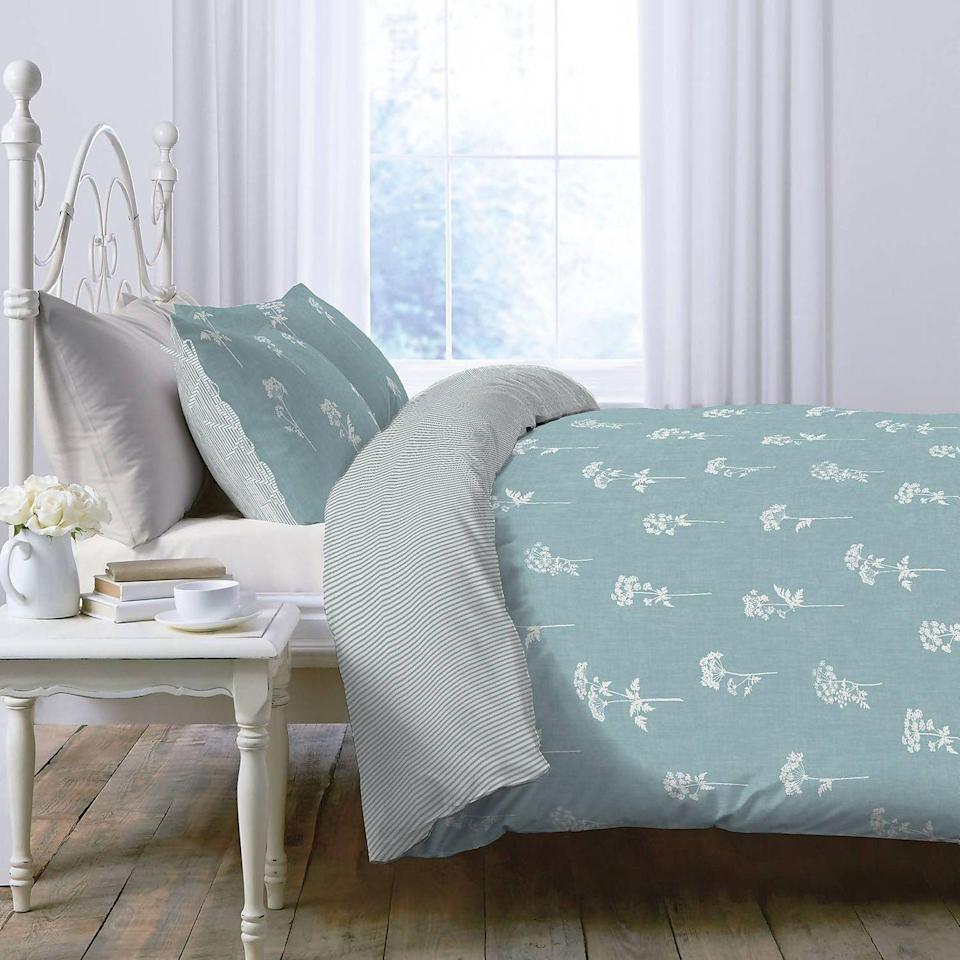 """<p>Delicate blue is very much at home in the countryside, evoking images of a clear summer day and softly coloured wildflowers. The Country Living Meadow Printed Bedding Set adds an extra layer of country styling with a pretty botanical motif. </p><p>Pictured: <a href=""""https://www.homebase.co.uk/country-living-meadow-printed-bedding-set-king/12891599.html"""" rel=""""nofollow noopener"""" target=""""_blank"""" data-ylk=""""slk:Country Living Meadow Printed Bedding Set at Homebase"""" class=""""link rapid-noclick-resp"""">Country Living Meadow Printed Bedding Set at Homebase</a></p>"""